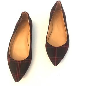 J. Crew Amelia Plaid Flats Pointed Toe 6.5